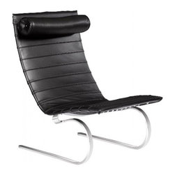Easy Street Lounge Chair - With the kind of black leather upholstery and chrome legs usually reserved for Wall Street big shots, this chair takes you in a different direction. The arched form of the legs gives the seat a gentle rock when you want it, perfect for leaning back to relax.