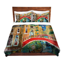 DiaNoche Designs - Duvet Cover Twill - Venice Italy February 1, 2015 - Lightweight and super soft brushed twill Duvet Cover sizes Twin, Queen, King.  This duvet is designed to wash upon arrival for maximum softness.   Each duvet starts by looming the fabric and cutting to the size ordered.  The Image is printed and your Duvet Cover is meticulously sewn together with ties in each corner and a concealed zip closure.  All in the USA!!  Poly top with a Cotton Poly underside.  Dye Sublimation printing permanently adheres the ink to the material for long life and durability. Printed top, cream colored bottom, Machine Washable, Product may vary slightly from image.