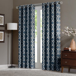 "Madison Park - Madison Park Verona Window Curtain - Uptdate your room with a stylish and modern Ogee window panel. The subtle blue color adds a refreshing touch to the print, while the chenille jacquard fabric creates a beautiful texture. Microfiber lining offers room darkening features and energy saving abilities. Grommet top detail makes it easier to hang, open, and close panels throughout the day. Fits up to 1.25"" diameter rod. 100% polyester chenille with micro fiber 75gsm linging, grommet top with lining."