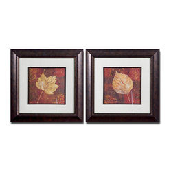 Uttermost - Golden Fall Framed Art, Set of 2 - Bring a bit of nature's life cycle in to your home with this pair of framed prints. The golden leaves and rich background make a rich complement with the elegant framing. Hang these in your office, powder room or bedroom for a daily reminder of nature's transformative seasons.