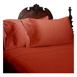 SCALA - 1000Tc Stripe King Size Brick red Color Sheet Set - We offer supreme quality Egyptian Cotton bed linens with exclusive Italian Finishing. These soft, smooth and silky high quality and durable bed linens come to you at a very low price as these come directly from the manufacturer. We offer Italian finish on Egyptian cotton, which makes this product truly exclusive, and owner's pride. It's an experience and without it you are truly missing the luxury and comfort!!