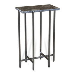 Interlude - Taylah Rectangular Drink Table - The Taylah Rectangular Drink Table combines grey marble with an antique silver finish base.