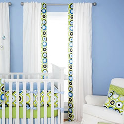 Blue and Green Giddy Dot Hidden Tab Drapes -