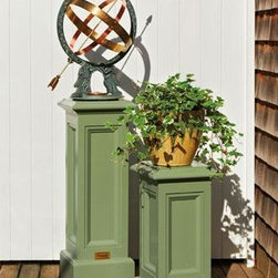"""Statuary Pedestals - Display your favorite statuary in the garden on an impressive low maintenance stand. Four recessed panels decorate the stylish 8½"""" sq., pedestal, that is offered in two heights - small 22 1/2"""" H, and large 31 1/2"""" H. Supporting your sculpted piece or potted plant securely. Prefinished in your choice of garden friendly Homeland Green or White (not shown). Crafted in cellular PVC."""