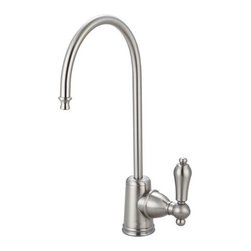 "Kingston Brass - Restoration Water Filtration Faucet, Satin Nickel - Elegance and style is what the Restoration water filtration faucet is best known for. Its sleek construction is built sturdy with its solid brass material and the different finishes provided for your household decor.; Fabricated from high quality brass material for durability and reliability; Lifetime hardisc ceramic cartridge; 3/8"" -14 NPS male threaded inlet shank; Install in decks up to 2"" thickness; 1/4"" turn ON/OFF water control mechanism; Max 2.2 GPM (8.3 LPM) water flow rate at 60 PSI; Material: Brass; Style: Classic; Faucet Holes: 1; Flow Rate GPM: 2.2; Valve Type: Ceramic Disc; Faucet Centers: Single Post; Spout Height: 11; Spout Reach: 6; Max Deck Thickness: 2; Handle Style: Metal Lever; Number of Handles included: 1; Weight: 1.65 lbs; Dimensions:15.27""L x 7.40""W x 2.74""H"