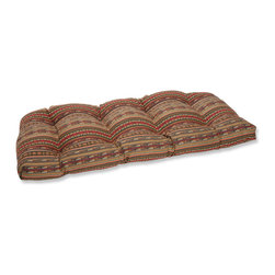 Pillow Perfect - Pillow Perfect Wicker Loveseat Cushion with Sunbrella Chimayo Fabric - This wicker loveseat cushion is covered in 100-percent solution dyed acrylic Sunbrella® fabric,which provides the perfect balance of worry-free performance and fashion.