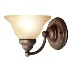 Woodbridge Lighting - Woodbridge Lighting Anson 1-light Marbled Bronze Bath Sconce - Update the look of your bathroom with this marbled bronze bath sconce. The etched glass shade and bronze accents of this sconce will add an elegant look to any bathroom decor. This sconce offers ample lighting with one 100-watt bulb.