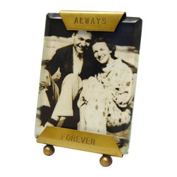 "Sugarboo Designs - Sugarboo Designs Always Forever Frame - Sugarboo Designs uses a simple statement to enhance the story of a captured moment. With ""Always Forever"" engraved on both ends of the two-sided picture frame, this personalized accessory delivers bookshelves sweet style. 2""W x 3""H; Brass; Handcrafted"