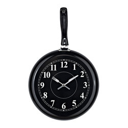 Modway - Pan Shaped Wall Clock - Add a whimsical touch to your kitchen or dining room with fun pan clock with knife and fork hands. Featuring sturdy stainless construction and large white numerals, the black wall clock also makes a cute and practical gift anyone who loves to cook.
