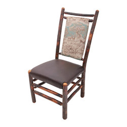 """Genesee River - Rustic Hickory Stag Chair - Tenoned hickory chair with blue stag toile fabric on back of chair, seat is brown leather. Bench made in Pennsylvania. Seat height 19"""" from floor."""