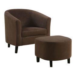 Monarch Specialties - Monarch Specialties Accent Chair and Ottoman in Brown Padded Microfiber - Whether standing alone or used to accent a full living room ensemble, this chair will bring optimal comfort and exceptional style to your home. The curved back design back and sleek track arms create a unique barrel shape for a contemporary look that will stand out in any room. With slender tapered wood legs, comfortably padded chocolate brown micro fiber material and matching ottoman, this chairs chic modern vibe will add touch of style to any decor.