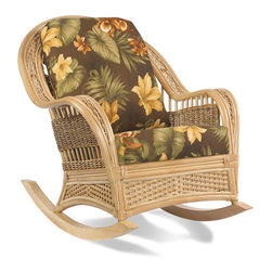 Wicker Paradise - Rattan Rocker: Tropical Breeze - A Tropical Breeze Rattan Rocker turns your room into a tranquil, island paradise. Color, texture, and shape work together to form an extremely special piece. Just wait until you own this rattan rocker and start rocking!  Rock your troubles away with wooden runners that move gently back and forth. The comfy cushions, gorgeous details, and top quality rattan will make you a proud owner. You will know you spent your money wisely.   Tropical Breeze Rattan Rocker:   Amazing quality natural rattan, wicker, and seagrass rocker.  Deep-seating comfort that makes it a pleasure to rock away.  Purchase separately or with other collection pieces.  Our fabric selection includes a variety of solid, striped, and floral patterns.