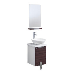 "Fresca - Fresca Adour 16"" Dark Walnut Vanity w/ Mirror - Dimensions of vanity:  16""W x 16""D x 34.25""H. Dimensions of mirror:  15.75""W x 27.5""H. Materials:  MDF with ceramic countertop/sink. Soft closing door. Single hole vessel faucet mount. P-trap, faucet, pop-up drain and installation hardware included. Side linen cabinet not included.  The Fresca Adour is one of the smallest free standing vanities available.  This 16"" model comes with a ceramic countertop and sink, along with a matching shelf and mirror."