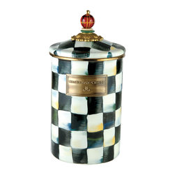 Courtly Check Enamel Canister - Large | MacKenzie-Childs - Flour, sugar, and coffee might seem the most obvious of contents with which to fill a set of three Courtly Check® Canisters, but the possibilities are endless! Keep them in the kitchen with coffee beans and tea bags, cookies and candies, dog biscuits or birdseed, or invent new uses around the house. Perfect for cotton balls and swabs in the bathroom, pens and pencils in the office, or knick-knacks and doodads in the kids room. Each enameled steel canister is hand-painted with signature Courtly Checks® and topped off with a hand-painted, wooden plaid beaded knob. These canisters stand handsomely alone or harmonize delightfully in a set.