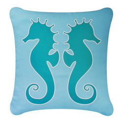 Wabisabi Green - Salty Seahorse Eco Pillow, Teal/Ocean Blue, Without Insert - - Natural cotton twill