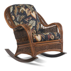 Tigre Bay Rattan Rocker - Measurements: 32w-42d-39h. The Tigre Bay rattan rocker brings a tropical look to your area & features premium quality rattan framed on wood with thick bottom and back cushions in your choice of fabric. Comfort straps enhance the comfort and durability of this set which makes it last many years.