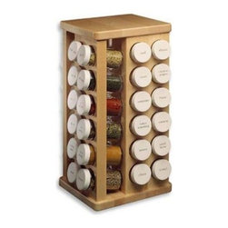 J.K. Adams - J.K. Adams Carousel Spice Rack - 16 Bottles - Constructed like fine furniture with clear finished hard rock sugar maple racks have an ultra-smooth surface and turn on industrial ball-bearing swivels. White screw-on caps, snap-on sifters, round washable labels and 3.5 fl oz. flint glass bottles are included.