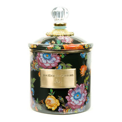 Flower Market Small Enamel Canister - Black   MacKenzie-Childs - Flour, sugar, and coffee might seem the most obvious of contents with which to fill a set of three Flower Market Canisters, but the possibilities are endless! Keep them in the kitchen with coffee beans and tea bags, cookies and candies, dog biscuits or birdseed, or invent new uses around the house. Perfect for cotton balls and swabs in the bathroom, pens and pencils in the office, or knick-knacks and doodads in the kids room. Color glazed in black, blue, green or white, each Flower Market Enamel Canister is decorated with hand-applied fanciful botanical transfers that recall a lush English garden in the peak of summer. These canisters stand handsomely alone or harmonize delightfully in a multicolor set.