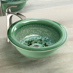 Riverbend Home Products - The natural crystal formations scattered about the interior of the Modern Patina Crystal big rim self rimming or vessel mount sink add interest to the soft greens and cool blues of the crystalline glaze interior complemented by its smooth clover green exterior glaze. Photo credit: Riverbend Home