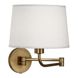 Robert Abbey - Contemporary Robert Abbey Koleman Brass Plug-In Swing Arm Wall Lamp - I like this swing-arm lamp for its chic oyster linen shade and charming aged natural brass finish.
