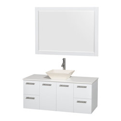 "Wyndham Collection - Wyndham Amare 48"" Wall-Mounted Sink White, White Stone, Pyra White Porcelain - Wyndham Collection"