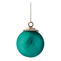 Frontgate - Set of Six Matte Blue Mini Antique Ornaments - Glass ornaments with antique finish. Miniature size provides more decorating opportunities. Set includes one ornament in each shape. Our Set of Six Mini Antique Ornaments provides the perfect polished-yet-demure treatment for a tabletop tree. The glass ornaments have a metallic antiqued finish, and each set includes six traditional – and complementary – shapes: oblong, ball, swirled ball, swirled conical, tear-drop, and striated tear-drop.  .  .  .