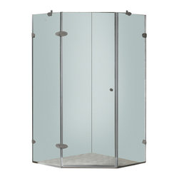 Vigo - Vigo 40 x 40 Frameless Neo-Angle 3/8in.  Clear/Brushed Nickel Shower Enclosure - Both dramatic and space-saving, the Vigo frameless neo-angle shower enclosure creates a beautiful focal point for your bathroom.