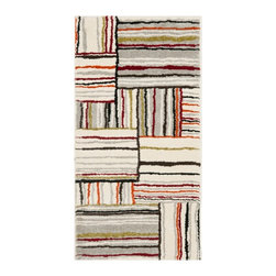 """Safavieh - Havana Rug, Ivory 8' X 11'2"""" - Construction Method: Power Loomed. Country of Origin: Belgium. Care Instructions: Vacuum Regularly To Prevent Dust And Crumbs From Settling Into The Roots Of The Fibers. Avoid Direct And Continuous Exposure To Sunlight. Use Rug Protectors Under The Legs Of Heavy Furniture To Avoid Flattening Piles. Do Not Pull Loose Ends; Clip Them With Scissors To Remove. Turn Carpet Occasionally To Equalize Wear. Remove Spills Immediately. Simple geometry gets a linear contemporary twist with a multi-colored motif on an ivory ground in the Luca accent rug from the Porcello collection by Safavieh. A transitional design with graphic appeal, this easy-care rug is power loomed of long wearing polypropylene yarn to stand up to heavy traffic."""