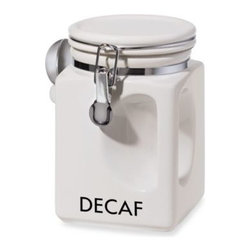 Oggi - Oggi EZ Grip Decaf Coffee Canister - Whether you prefer regular coffee or decaf, there's a canister for you. Ceramic canisters have easy grips and chrome locking clamps with silicone gaskets for airtight seals.