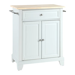 Crosley - Crosley KF30021CWH Newport Natural Wood Top Portable Kitchen Island in White - Constructed of solid hardwood and wood veneers, this kitchen island is designed for longevity. The Beautiful raised panel doors and drawer front provide the ultimate in style to dress up your kitchen. The deep drawer are great for anything from utensils to storage containers. Behind the two doors, you will find an adjustable shelf and an abundance of storage space for things that you prefer to be out of sight. Style, function, and quality make this kitchen island a wise addition to your home.