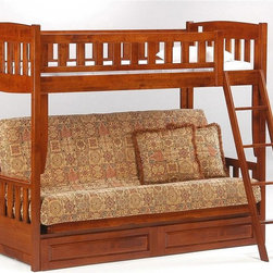 Night & Day Furniture - Twin Over Futon Bunk Bed - 100% Malaysian Rubberwood construction. Bed includes headboard/footboard, rails/ladder, slats and shoe fitting bodyBed dimensions:. Headboard/Footboard: 49 in. W x 46 in. D x 5 in. H. Rails/Ladder: 49 in. W x 46 in. D x 5 in. H. Slats: 49 in. W x 46 in. D x 5 in. H. Shoe Fitting Body: 49 in. W x 46 in. D x 5 in. H. Storage Drawer: 49 in. W x 46 in. D x 5 in. H. Bunk Bed Warning. Please read before purchase.. NOTE: ivgStores DOES NOT offer assembly on loft beds or bunk beds.The Cinnamon Futon Bunk is a most remarkable and versatile space saver. With a twin bed above and a full size futon below you have instant sleep-overs with a quick conversion of the bottom futon. Leave it up as a sofa for lounging, reading, playing and general creative day dreaming. The Cinnamon Futon Bunk gives you all the comfort, style and quality you expect from a Night and Day Furniture product. Bunk Beds are notorious for cheap construction - but not ours! Our handsome Cinnamon Futon Bunk maintains all our top construction and finishing standards, while remaining a great competitive value. Will accommodate Premium Collection Storage drawers below. All Spices Bedroom Collection items come with a limited 10 year warranty.
