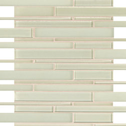 Artistic Tile Opera Glass Collection - Moonstruck Stilato Linear Mosaic - Versatile, contemporary and timeless: Opera Glass offers ultimate design flexibility. Clear float glass, with color applied to the back, in large and small formats, full spectrum of colors, satin and gloss finishes, and wide selection of shapes allow for endless pairing possibilities. Its versatility is unrivaled. Modern and classic, mysterious and inviting, Opera Glass is fresh and elegant.