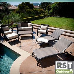 Red Star Traders - RST Outdoor Zen 7-piece Seating and Lounger Set - Relax by the pool in this stylish wicker seating set. The seven-piece set includes a loveseat, two club chairs, an ottoman, a coffee table, and two lounge chairs. All pieces are constructed from cast aluminum and eco-friendly, recyclable wicker.