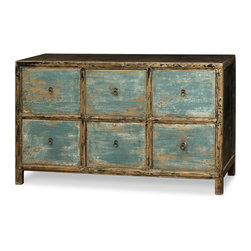 China Furniture and Arts - Elmwood 6-Drawer Ming File Cabinet - Exquisitely simple yet impactful, this rustic file cabinet was hand crafted of Elmwood by artisans in China. Each drawer is equipped with a hand-forged Ming brass pull. Meticulously hand-applied distressed blue finish helps refine this cabinet's homey yet curious feel. Fully assembled. (Hanging frames not included).