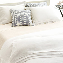 Pine Cone Hill - PCH Pleated Linen White Duvet Cover - The Pleated Linen duvet cover is at once casual and divine, with an exquisite 3-tiered pleat. Create a beautiful modern bed with this soft and perfectly simple accent from PCH. Available in twin, full/queen and king sizes; 100% linen; White; Hidden button closure; Insert not included; Designed by Pine Cone Hill, an Annie Selke company; Machine wash cold, tumble dry low; Do not bleach