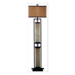 Kenroy Home - Kenroy Home 30742 Asian Themed Floor Lamp Plateau Collection - Plateau Floor LampGold Fabric Shade3-Way Switch1 150w 3-Way Medium Base (Not Included)