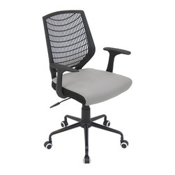 Lumisource - Network Office Chair - Black with Silver - This chair adds a touch of modern flair to your home office, conference room, or board room. The padded seat and lumbar support creates comfort for the long days at work. The Network Office Chair offers a comfortable PE backrest with lumbar support, adjustable height, adjustable tilt & tension, and swivels 360 degrees. It sits atop a sturdy 5-point metal base and castors for mobility. BIFMA certified.. Color: Black, Silver. Seat Height: 18.25-21.25 in.. 22 in. L x 25 in. W x 36.6-39.5 in. H (23 lbs.)