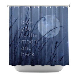 DiaNoche Designs - Love You to the Moon Shower Curtain - Sewn reinforced holes for shower curtain rings. Shower curtain rings not included. Dye Sublimation printing adheres the ink to the material for long life and durability. Machine washable. Made in USA.