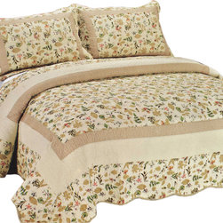 Blancho Bedding - [Felicity] Cotton 3PC Floral Vermicelli-Quilted Printed Quilt Set (Full/Queen) - Set includes a quilt and two quilted shams. Shell and fill are 100% cotton. For convenience, all bedding components are machine washable on cold in the gentle cycle and can be dried on low heat and will last you years. Intricate vermicelli quilting provides a rich surface texture. This vermicelli-quilted quilt set will refresh your bedroom decor instantly, create a cozy and inviting atmosphere and is sure to transform the look of your bedroom or guest room.