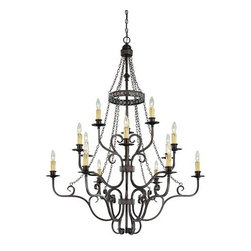 Jeremiah Lighting - Jeremiah Lighting 23615  15 Light Chandelier - Jeremiah Lighting 23615 Brookshire Manor 3 Tier ChandelierThe Brookshire Manor family of Lights creates a feeling of the old world charm with the use of draped chains and subtle scrolled metal treatment throughout the body of the fixture.  This charming look is further accented with amber etched glass shading and a unique designer banding on the hanging units. The Burnished Armor finish used is a deep bronze base coat with a touch of gold highlighting.    Features: