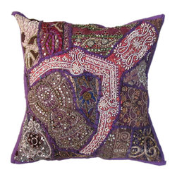 Purple Antique Heavy Beads Embroidered Decorative Throw Pillow Case Sham -