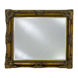Afina - Estate Decorative Rectangular Wall Mirror (Small) - Choose Size: Small. Beveled edge. Can be hung vertically or horizontally. 1 in. frame thickness. Clean with mild soap and water. Distinctive wood frame. Warranty: One year. Antique burnished gold finish. Molding width: 4 in.. Small: 34 in. W x 28 in. H. Medium: 42 in. W x 34 in. H. Large: 51 in. W x 40 in. H