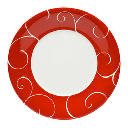 Red Vanilla - Red Vanilla Panache Rouge Salad Plates (Set of 6) - Serve up something healthy for your guests to enjoy on eye-catching salad plates from Red Vanilla. The bold red design on these plates provides a great contrast to fresh salad greens,making your holiday feast more appealing to guests and family.
