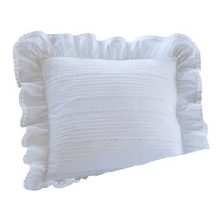"""Taylor Linens - Elisa Egg-Shell White 10"""" Toss Pillow - Flirty and feminine, this charming pillow is adorned with decorative eyelets and a halo of ruffles trimmed with lace. The cotton cover is machine washable, and comes with a goose feather and down insert, assuring serene softness for years to come."""