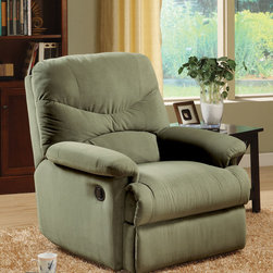 Acme - Arcadia Sage Microfiber Recliner - Sage colored microfiber upholstery makes this Arcadia Sage Microfiber Recliner by Acme Furniture very soft and comfortable. A smooth seat cushion provides a relaxation from seat to toe with an easy-to-reach external handle for operating the reclining mechanism. A padded seat back with overstuffed pillow arms offers generous support and comfort. Also available in chocolate, beige and light brown.