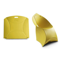 Flux Furniture - Flux Junior, Lemon Lime - Award-winning Dutch design - for kids, looks like a giant envelope; turns into a designer chair. Simple. One craftily cut sheet of sustainable polypropylene and a variety of modern colours to choose from; zero tools necessary.