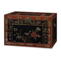 China Furniture and Arts - Hand-Painted Tibetan Motif Jewelry Chest - Adopted from an ingenious 19th-century Japanese design, the Step Tansu is not only a beautiful piece of furniture; it also makes a great room divider and double-sided storage. The compact version will fit almost anywhere and add style to your home. Skillfully constructed of Elmwood by artisans in China using traditional joinery techniques for long lasting durability. There is a wealth of storage options consisting of four drawers, two medium sized sliding door compartments, one small single hinged door compartment, and a large sliding door compartment. Hand rubbed mahogany finish with matching brass hardware. It is reversible and identical on both sides.