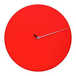 WS Bath Collections - Less 1865 Red Wall Clock - Wall clock made in wood. Battery quartz movement.