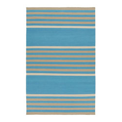 Surya - Surya Contemporary Oxford Aqua 5'x8' Rectangle Area Rug - From bold to subtle stripe designs each lavish line splashed across the radiant rugs of the Oxford collection for Surya allow these pieces to serve as an exquisite addition to your space. Hand woven in  cotton the vibrant color palette and classic print found within each of these perfect pieces effortlessly embody a prime example of impeccable artistry and design.