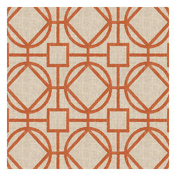 Orange & Natural Modern Trellis Fabric - Teal geometric trellis on thick natural cotton. A bold statement of modern meets rustic.Recover your chair. Upholster a wall. Create a framed piece of art. Sew your own home accent. Whatever your decorating project, Loom's gorgeous, designer fabrics by the yard are up to the challenge!